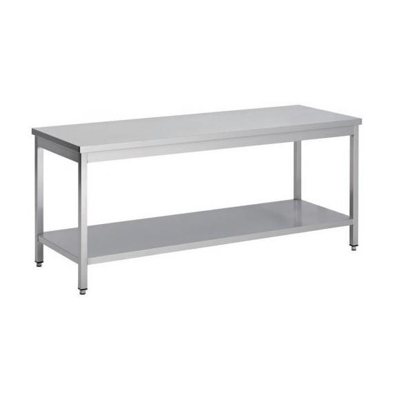 Table centrale en inox 1800x600x850mm avec étagère basse
