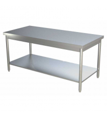 Table inox centrale L800xP800xH850MM avec étagère basse