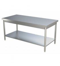 Table inox centrale L1400xP800xH850MM avec étagère basse