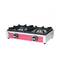 Réchaud professionnel 2 feux gaz à poser, acier inox