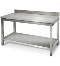 Table Inox Adossée L600xP600xH950MM Avec Étagère Basse