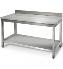 Table Inox Adossée L700xP700xH950MM Avec Étagère Basse